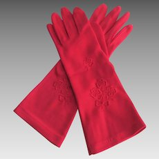 Red Nylon Womens Gloves Vintage 1960s Embroidered Flower Bouquet