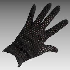 Black Sheer Mesh Nylon Gloves Vintage 1950s Bows Wristlet