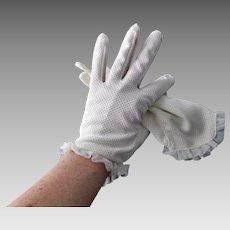 White Nylon Mesh Gloves Vintage 1950s Pinup Ruffle Size 8