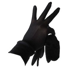 Black Gloves Vintage 1960s Mesh Stretch Nylon Hansen
