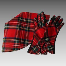 Hat Gloves Set Vintage 1970s Red Tartan Plaid Wool Womens Accessories