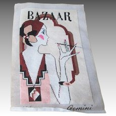 Art Deco Flapper Needlepoint Magazine Cover Finished Harpers Bazaar Smoking Cigarette