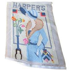 Harpers Bazaar Art Deco Flapper Girl Magazine Cover Needlepoint Finish