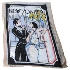 New Yorker Magazine Cover Needlepoint Art Deco Flapper Couple