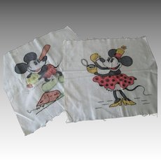 Rare Walt Disney Mickey Minnie Mouse Pillow Tops Vtg 30s Printed Linen Embroidery
