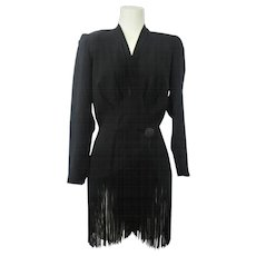 Vintage 1940s Black Crepe Fringed Womens Jacket