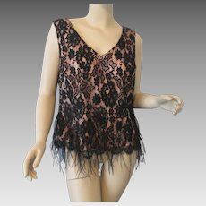 Black Lace Feather Sequined Top Blouse Camisole Vintage 1980s Shani Couture Evening Wear Large