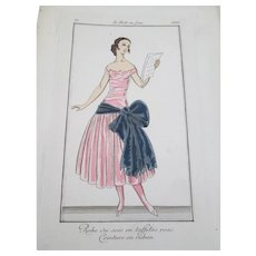 Le Gout du Jour Vintage 1920s Art Deco Fashion Plate Woman in Pink Dress With Bow