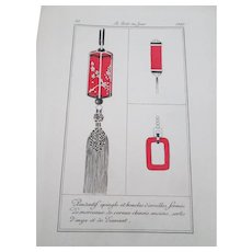 Art Deco French Fashion Plate No 30 Vintage 1920 Red Black Ornaments Tassel - Red Tag Sale Item