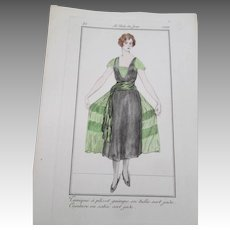 French Art Deco Fashion Plate Vintage 1920 Woman In Flapper Dress