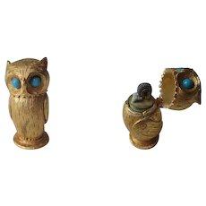 Florenza Owl Lighter Vintage 1960s Cigar Cigarette Figural Gold Gilt Signed - Red Tag Sale Item