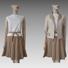 Banff Womens Suit Vintage 1970s Tan White Striped Wool Jacket Blouse Belt Pleated Skirt