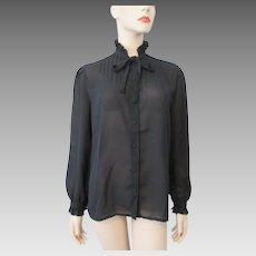 Vintage 1970s Blouse Sheer Black Victorian Revival Bow Neck