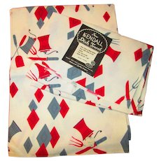 Mid Century Modern Dish Towels Vintage 1950s Geometric Carving Set Kendall Pair NWT