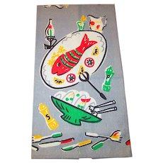 Mid Century Modern Tea Towel Vintage 1950s Gray Printed Fish Salad Utensils