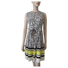 Victor Costa Graphic Print Dress Vintage 1970s Sleeveless Black White Yellow Stripes Designer