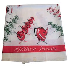 Kitsch Kitchen Anthropomorphic Tablecloth Large Tea Towel Vintage 1950s Printed Cotton