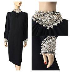 Black Beaded Cocktail Dress Vintage 1970s Jack Bryan Evening Gown Large