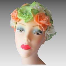 Floral Hat Vintage 1960s Expandable Pastels