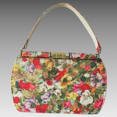 Floral Purse Kelly Bag Vintage 1960s Handbag