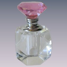 Lead Crystal Perfume Bottle Pink Prism Stopper