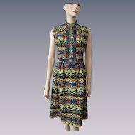 Victor Costa Suzy Perette Graphic Print Dress Vintage 1960s Mod Sleeveless Wiggle