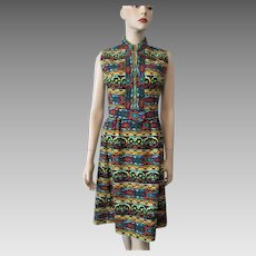 Victor Costa Suzy Perette Graphic Print Dress Vintage 1960s Mod Sleeveless Wiggle
