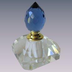 Prism Cut Lead Crystal Perfume Bottle Blue Stopper