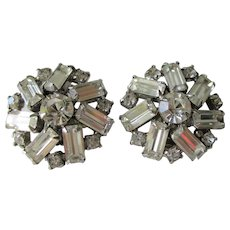 Weiss Clear Rhinestone Clip Earrings Vintage 1950s Round