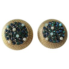 Round Rhinestone Clip Earrings Vintage 1960s Blue Faux Pearl Stones