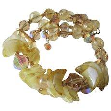 Memory Wire Bracelet Vintage 1980s Glass Citrine Amber