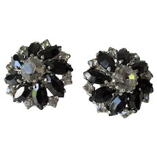 Weiss Rhinestone Earrings Vintage 1950s Black Clear Round Clips