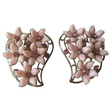 Pink Daisy Flower Clip Earrings Vintage 1950s XL Size