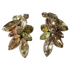 Weiss Climber Clip Earrings Vintage 1950s Citrine Amber Signed