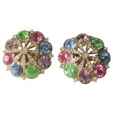 Pastel Rhinestone Clip Earrings Vintage 1980s Pinwheel Large