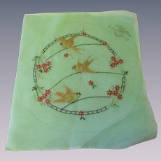 Organdy Boudoir Pillow Top Vintage 1930s Embroidered Flowers Birds