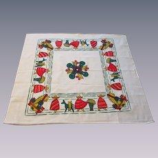 Mexico Cotton Print Tea Towel Vintage 1950s Man Sombrero Donkey Startex Deadstock