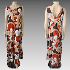 Royal Hawaiian Maxi Dress Vintage 1970s Large Hippie Daisy Flowers Floral