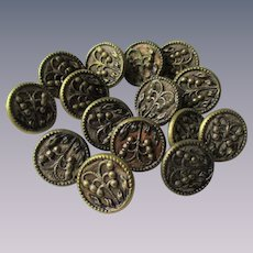 Antique Victorian Picture Buttons Set 15 Brass Lily Of The Valley