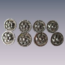 Antique Victorian Buttons Steel Pinwheel Set of 8