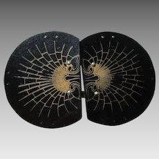 Belt Buckle Celluloid Spiderweb Vintage 1930s Large Two Piece
