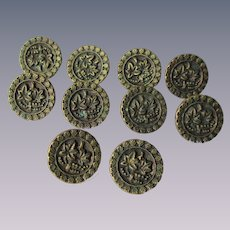 Antique Brass Picture Buttons Leaves Set of 10