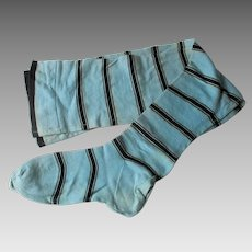 Rare Antique Edwardian Long Stocking Blue Black Striped Cotton Womens
