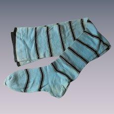Rare Antique Edwardian Long Stocking Blue Black Striped Cotton Womens