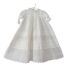 Childrens Girls Dress Antique Edwardian White Cotton Lace Pintucking