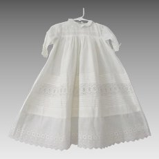 Childrens Girls Dress Antique Edwardian White Cotton Lace Pintucking