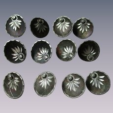 Victorian Antique Buttons Cupped Metal Faux Cut Steel Decorations Set of 12