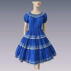 Rockabilly Swing Dress Vintage 1950s Blue Silver Rick Rack Bloomers