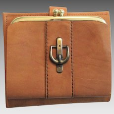Deadstock Leather Wallet Vintage 1970s Buxton Cowhide Camel Brown