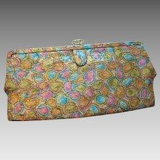 Clutch Purse Vintage 1970s Gold Metallic Print Evening Bag Handbag